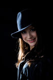 Girl in black hat Stock Photo