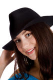 Girl in black hat Stock Photos