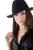 Girl in black hat Royalty Free Stock Image