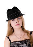 Girl in a black hat Royalty Free Stock Image
