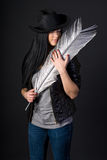 Girl in black hat Royalty Free Stock Photography