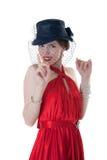 Girl in a black hat Stock Photo