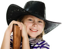 Girl in black hat cowboy Royalty Free Stock Image