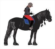 Girl on a black horse Royalty Free Stock Photo