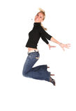 Girl in black jumps 2 Stock Images