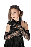 Girl in black lacy gloves with clutch Stock Photos