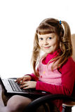 Girl with black laptop stock photo