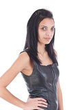 Girl in black leather Royalty Free Stock Images
