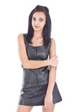 Girl in black leather Royalty Free Stock Image