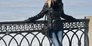 Girl in black leather jacket Royalty Free Stock Photography