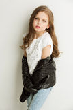 Girl in black leather jacket Royalty Free Stock Image