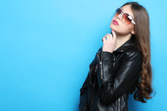 Girl in black leather jacket Royalty Free Stock Photo
