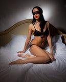 Girl in black lingerie Royalty Free Stock Image