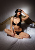 Girl in black lingerie Stock Photography