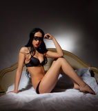 Girl in black lingerie Royalty Free Stock Image
