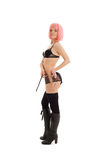 Girl in black lingerie with pink hair Stock Images