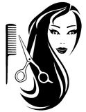 Girl with black long hair and scissors and comb Royalty Free Stock Image