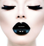 Girl with Black Makeup Stock Photo