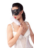 A girl in a black mask and a fan Stock Photo