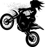 Girl on a black motorcycle royalty free illustration