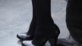 Girl in black pantyhose stock video footage