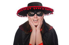 The girl in black and red carnival suit isolated Royalty Free Stock Photography