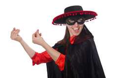 The girl in black and red carnival suit Royalty Free Stock Photos