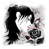 Girl with black rose. Beautiful woman smelling a black rose vector illustration Stock Photo