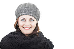 Girl in black scarf and hat Stock Photo