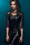 Girl in black sexy dress Royalty Free Stock Photos
