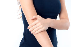 The girl in the black shirt keeps hand  closeup Stock Photo