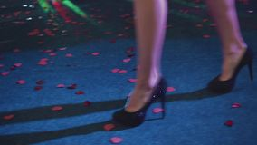 Girl in black shoes dancing in the club. Beautiful shots of women`s legs stock footage