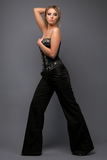 Girl in a black and silver corset. On gray background Royalty Free Stock Images