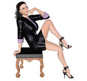 Girl in black skirt and blouse with chair. Royalty Free Stock Photo