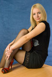 Girl in black stockings Stock Photo