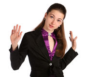 Girl in black suit deny. Royalty Free Stock Photo