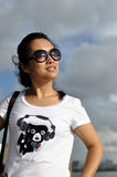 Girl in black sun glasses Stock Photo