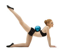 Girl in black training cloth with gymnastic ball Stock Photos