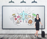 Girl in black and travelling sketches Royalty Free Stock Photos