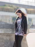 Girl in black trousers on open air Royalty Free Stock Photos