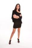 Girl in black tunic dress stock photo