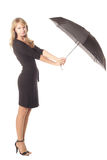 Girl with black umbrella Royalty Free Stock Images