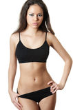 Girl in black underwear Royalty Free Stock Image