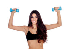 Girl in black underwear with dumbbells Royalty Free Stock Images