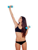 Girl in black underwear with dumbbells Stock Photo