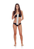 Girl in black underwear with a thermometer Royalty Free Stock Photos