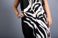 Girl with black and white dress Stock Image