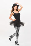 Girl in black and white striped tights Royalty Free Stock Photography