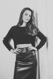 Girl black and white. Studio Royalty Free Stock Photos