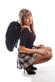 Girl with black wings Royalty Free Stock Photography